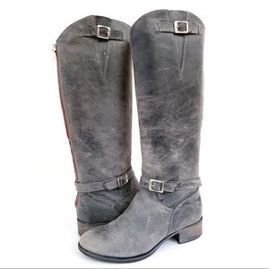 Charles David Gray Leather Riding Tall Boots 7.5